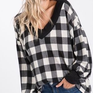 Black/Taupe Plaid Bubble Sleeve Top